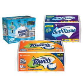 Member's Mark Premium Paper Towel, Bath Tissue, and Power Flex Tall Kitchen, Unscented
