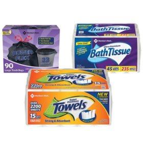 Member's Mark Premium Paper Towel, Ultra Premium Bath Tissue, and Power-Guard Trash Bags (33 gal, 90 ct.)