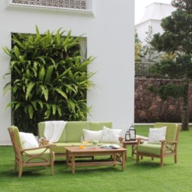 5-Piece Teak Sofa Set with Green Cushions