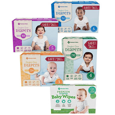 Member's Mark Comfort Care Diaper Bundle (Choose 1 Wipe and 2 Diapers)