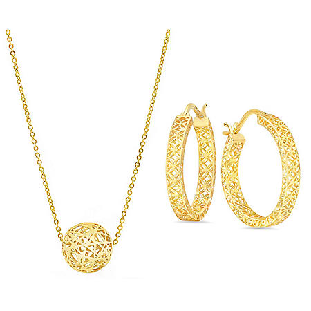 Hoop Earrings & Ball Necklace Filigree Set in 14k Yellow Gold