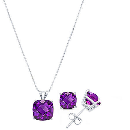 4.0 CT. T.W. Cushion Cut Gemstone Pendant Necklace & Stud Earrings Set in 14K Gold