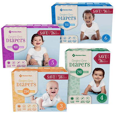 Member's Mark Comfort Care Pick 6 Diaper Bundle (Choose Your Sizes)