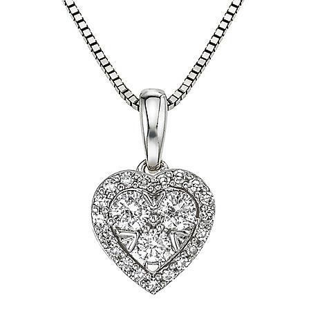 0.31 ct. t.w. Diamond Heart Pendant in 14K White Gold