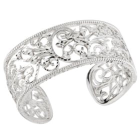 Scroll Design Cuff Bracelet in Sterling Silver