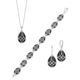 Sterling Silver Black Onyx Earring, Pendant, and Bracelet Set