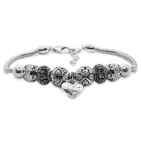 Sterling Silver I Love You Beaded Bracelet