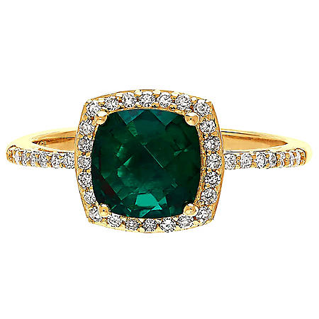 Created Emerald Ring with Diamond Accent in 14K Yellow Gold