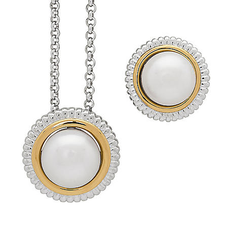 Sterling Silver and 14K Yellow Gold Freshwater Pearl Earring and Pendant Set