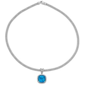 Cushion-Shaped Swiss Blue Topaz and White Topaz Necklace in Italian Sterling Silver