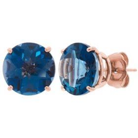 9MM Gemstone Stud Earrings in 14K Rose Gold