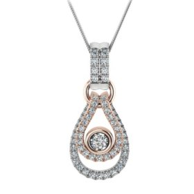 0.18 CT. T.W. Diamond Two Tone Pendant in 14K Gold