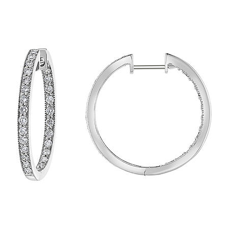 S Collection 1 CT. T.W. Hinged Huggie Hoop Earrings in 14K White Gold