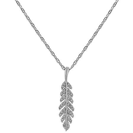 Diamond Feather Leaf Pendant in 14K Gold