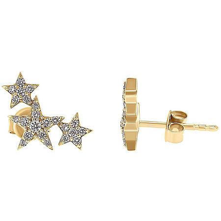 0.25 CT. T.W. Triple Star Earrings in 14K Gold