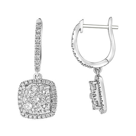 S Collection 1.35 CT. T.W. Cushion Cluster Diamond Drop Earrings in 14K White Gold