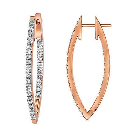 S Collection 1 CT. T.W. V Shape Hoop Earrings in 14K Gold