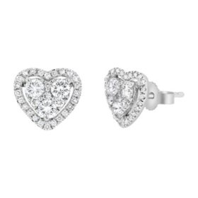 S Collection 3/4 CT. T.W. Diamond Halo Heart Stud Earrings in 14K White Gold