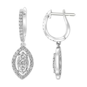 S Collection 3/4 CT. T.W. Marquis Composite Diamond Earrings in 14K White Gold