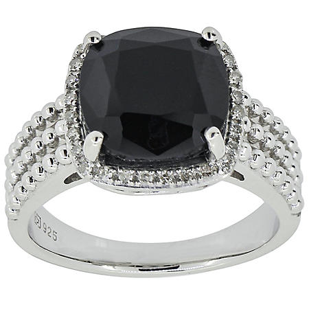 5333ab783 3.31 CT. T.W. Cushion Cut Onyx and Diamond Ring in Sterling Silver ...