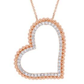 Allura 1 CT. T.W. Diamond Open Heart Halo Pendant in 14K Rose Gold