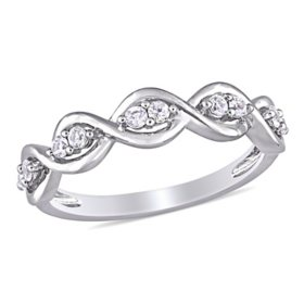 0.30 CT. T.W. White Sapphire Infinity Design Ring in 14k White Gold
