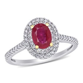 1 CT. Ruby and 0.32 CT. T.W. Diamond Double Halo Engagement Ring in 14k White and Yellow Gold