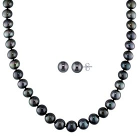 8-10 mm Black Tahitian Pearl Strand Necklace and 9-10 mm Stud Earrings Set in 14K White Gold