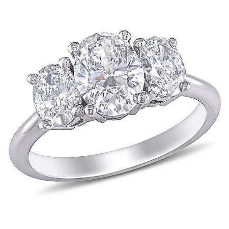 Allura 1.5 CT Oval-Cut Diamond Three Stone Engagement Ring in 18k White Gold