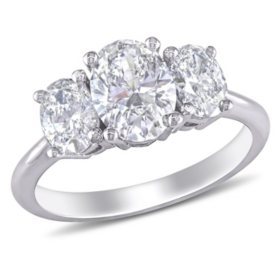 Allura 1.5 CT Oval-Cut Diamond Three Stone Engagement Ring in 18k White Gold
