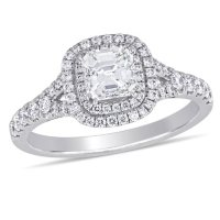 Allura 1.17 CT. Asscher and Round-Cut Diamond Double Halo Engagement Ring in 14k White Gold