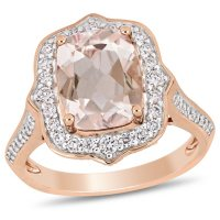 Allura Morganite and 0.58 CT. Diamond Vintage Halo Ring in 14K Rose Gold