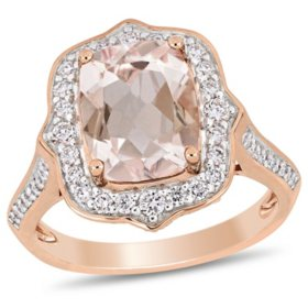 Allura 2.65 CT Cushion-Cut Morganite and 0.64 CT Diamond Vintage Halo Ring in 14k Rose Gold