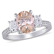 1.68 CT. Oval-Cut Morganite and 0.60 CT. Diamond Three Stone Engagement Ring in 14K White Gold