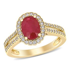 Allura 1.4 CT Oval-Cut Ruby and 0.33 CT Diamond Halo Engagement Ring in 14k Yellow Gold