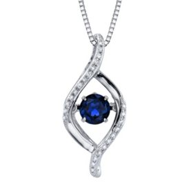 Sapphire Dancing Pendant with Diamond Accents