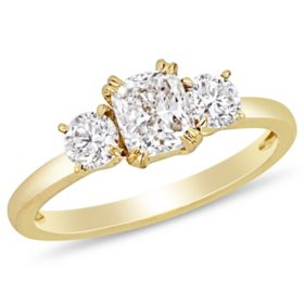 Allura 1.5 CT Cushion and Round-Cut Diamond Three Stone Engagement Ring in 14k Yellow Gold