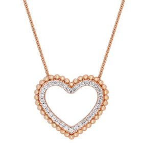 0.50 CT. Diamond Double Heart Pendant in 14K Rose Gold
