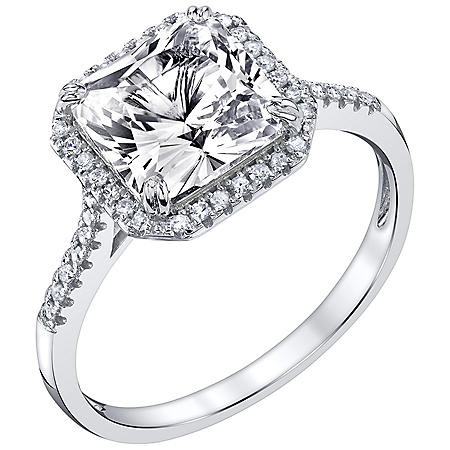 Created White Sapphire and 0.12 CT. T.W. Diamond Ring in 14K White Gold