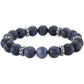 Spartan Sterling Silver and Blue Dumortierite Gents Bead Bracelet