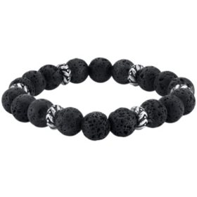 Spartan Sterling Silver and Black Lava Gents Bead Bracelet