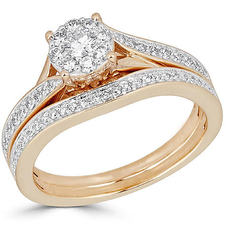 10bd5023bfb63f 0.50 CT. T.W. Diamond Bridal Ring Set in 14K Gold (H-I, I1) - Sam's Club