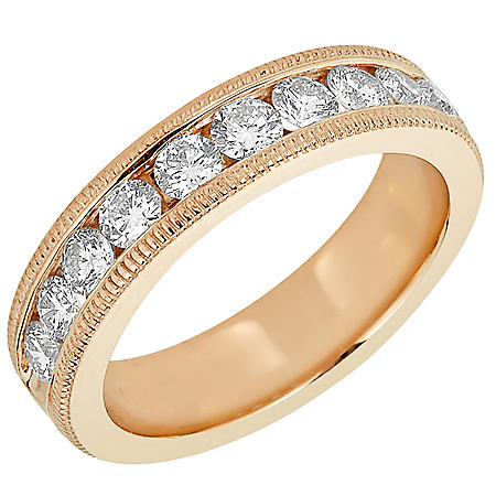 1 CT. T.W. 10-Stone Diamond Milgrain Channel Band in 14K Gold (HI,I1)
