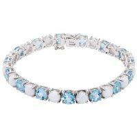 Blue Topaz and Lab Opal Sterling Silver Bracelet