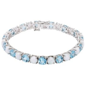 Blue Topaz and Lab Opal Sterling Silver Bracelet