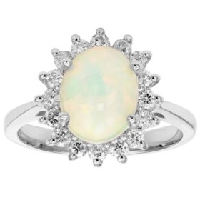 1.5 CT. T.W. Ethiopian Opal and 0.47 CT. T.W. Diamond Ring in 14K Gold