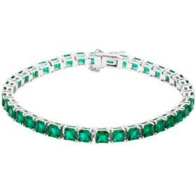 11 CT. Sterling Silver Lab Emerald Bracelet