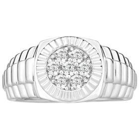 0.50 CT. TW. Men's Diamond Wedding Band in 14K White Gold