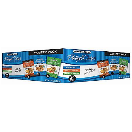 Snack Factory Pretzel Crisps, Variety Pack (1.5 oz., 24 ct.)