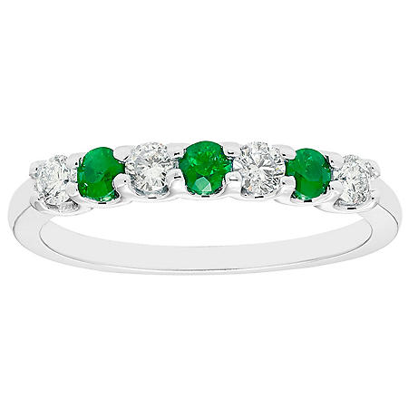 Emerald & 0.14 CT. T.W. Diamond Band in 14K White Gold